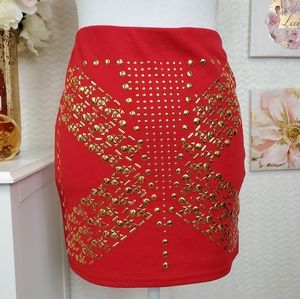 GoJane red skirt with tacks size M